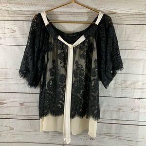 Karen Kane Layered Cream & Black Lace Size M